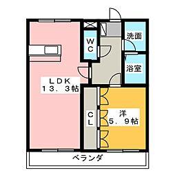 静岡県静岡市葵区松富3丁目の賃貸アパートの間取り