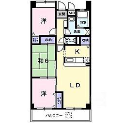 大阪府茨木市上野町の賃貸マンションの間取り