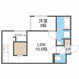 仮)北25東16 新築MS 2階1LDKの間取り
