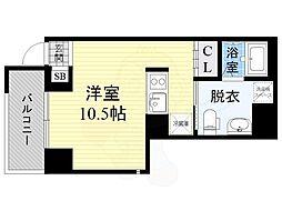 JPレジデンス京橋EAST 3階ワンルームの間取り
