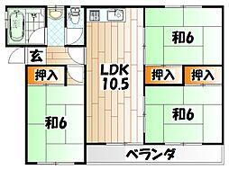 井堀南団地2号棟[1階]の間取り