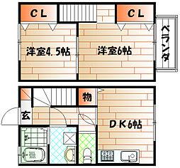 福岡県北九州市小倉南区朽網東6丁目の賃貸アパートの間取り