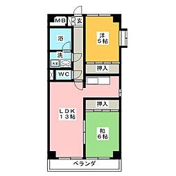 クレスト三郷[5階]の間取り