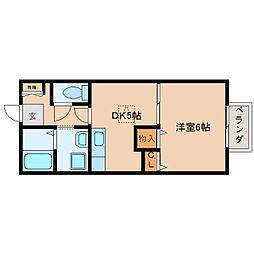 JR関西本線 王寺駅 徒歩7分の賃貸アパート 1階1DKの間取り