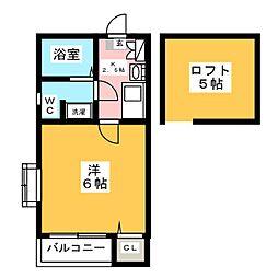 ピュア箱崎東 七番館[1階]の間取り
