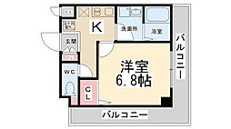 リーガルコート山本駅前[406号室]の間取り