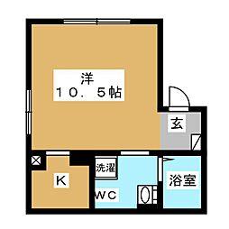 エアリアル錦糸町 5階ワンルームの間取り