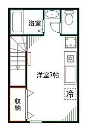 JR中央本線 中野駅 徒歩4分の賃貸アパート 2階ワンルームの間取り