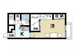 近鉄天理線 二階堂駅 徒歩9分の賃貸アパート 1階1Kの間取り