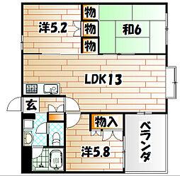 福岡県北九州市八幡西区山寺町の賃貸マンションの間取り