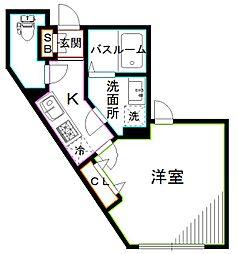 SkyRainbowKAMITAKADA 2階1Kの間取り