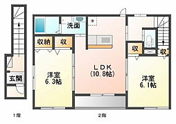 鳥取県鳥取市田島の賃貸アパートの間取り