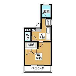コーポエクレールII[4階]の間取り