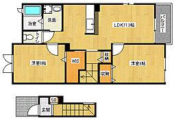 滋賀県大津市坂本8丁目の賃貸アパートの間取り