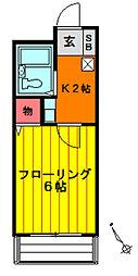 プレステージ谷塚[203号室]の間取り