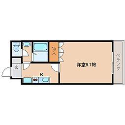 JR桜井線 天理駅 バス10分 国道櫟本下車 徒歩2分の賃貸マンション 2階1Kの間取り