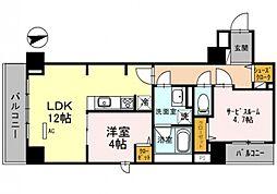 フェリシエ安堂寺町[201号室号室]の間取り