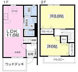 JR東北本線 東大宮駅 徒歩18分の賃貸テラスハウス 1階2LDKの間取り