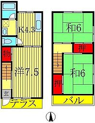 [テラスハウス] 千葉県流山市向小金2丁目 の賃貸【/】の間取り