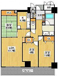 ラピタス31西宮[19階号室]の間取り