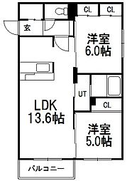 北海道札幌市白石区中央一条7丁目の賃貸マンションの間取り