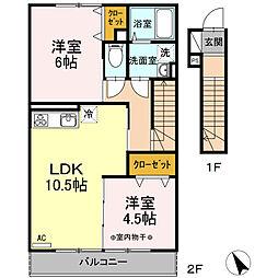 瀬谷区阿久和西3丁目 ウェストグランツI206号室[2階]の間取り