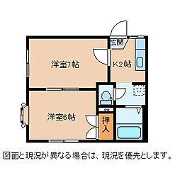 長野県茅野市玉川の賃貸アパートの間取り