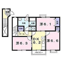 滋賀県守山市下之郷2丁目の賃貸アパートの間取り