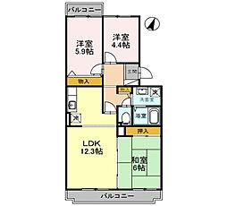 大阪府堺市南区深阪南の賃貸アパートの間取り