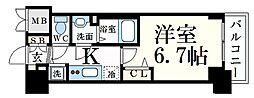 JR山陽本線 兵庫駅 徒歩4分の賃貸マンション 9階1Kの間取り