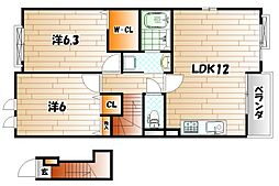 グレイスフル高蔵Ⅲ[2階]の間取り