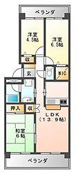 大阪府羽曳野市西浦の賃貸マンションの間取り