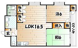 タツノ福柳木ハイツ[6階]の間取り