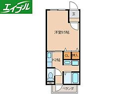 近鉄鳥羽線 宇治山田駅 徒歩15分の賃貸アパート 2階1Kの間取り
