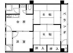 六甲ロイヤルマンション[4階B号室]の間取り