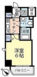 東急東横線 反町駅 徒歩3分の賃貸マンション 7階1Kの間取り