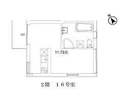 玉川台のアパートメント 2階ワンルームの間取り