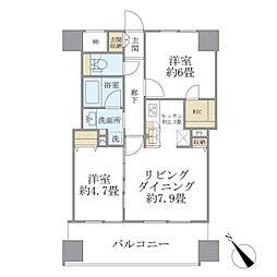 西武池袋線 東長崎駅 徒歩1分の賃貸マンション 9階2LDKの間取り