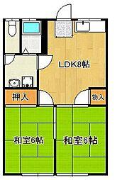 JR筑豊本線 鞍手駅 バス12分 鞍手局下車 徒歩4分の賃貸アパート 1階2LDKの間取り
