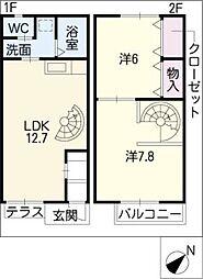 [タウンハウス] 愛知県常滑市かじま台1丁目 の賃貸【愛知県 / 常滑市】の間取り