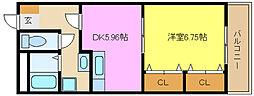 兵庫県姫路市飾磨区英賀宮町1丁目の賃貸マンションの間取り