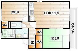 ディアコート西田 A棟[2階]の間取り