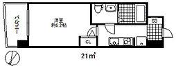 セレニテ三宮プリエ 3階1Kの間取り