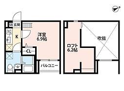 兵庫県尼崎市竹谷町1丁目の賃貸アパートの間取り