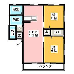 コスモハイムIIA[1階]の間取り