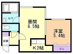 A BOND桑園弐番館(アボンド桑園弐番館) 1階1LDKの間取り