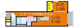 月光 岡山昭和町壱番館 2階1LDKの間取り
