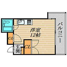 清水館[503号室]の間取り
