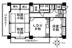 福岡県北九州市小倉北区片野新町1丁目の賃貸マンションの間取り