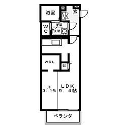 名古屋市営東山線 中村日赤駅 徒歩7分の賃貸マンション 2階ワンルームの間取り